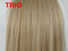 "15"" Clip in Hair Extensions Trio Blonde #14/24/613 Full Head 8PCS feels real"