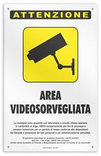 """Cartello vinile 4 fori """"Zona Videosorvegliata"""" negozio/studio/laborat./officina"""