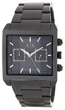 Armani Exchange Men's Square Stainless Steel Watch AX2222 BLACK IP $220 NIB