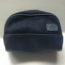 KLM Airlines Blue Tweed Faux Leather Accessories Cosmetic Zippered Pouch Bag