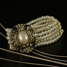 5 STRAND FAUX PEARL & FAUX PEARL AND CRYSTAL CENTRE RHINESTONE CRYSTAL BRACELET