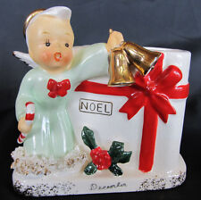 Napco December Christmas Noel Angel Boy Planter, Figurine, Month, Japan VGC