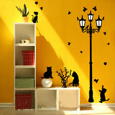 USA Black Lamp Cat Bird Removable Vinyl Decal Mural Art Home Decor Wall Sticker