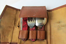 WWII VINTAGE ANTIQUE BOY SCOUT UTENSIL KIT MESS FOLDING KNIFE FORK SPOON signed