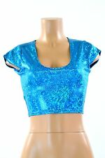 Blue Shattered Glass Print Spandex Crop Top NWT Clubwear Rave Festival NWT SMALL