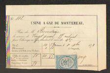 """MONTEREAU (77) USINE à GAZ """"ABONNEMENT"""" en 1873"""