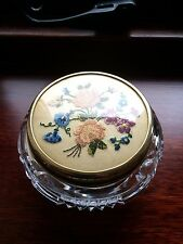 Vintage Petit Point Embroidery Top Inset In Brass With A Crystal Bowl.