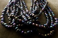 HANK OF SEED BEADS GLASS 14 INCH STRANDS (8) JET AURORA BOREALIS SIZE 6/0