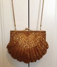 Vintage Gold Scallop Shell Beaded Evening Bag Snap Close Clutch Purse Chain