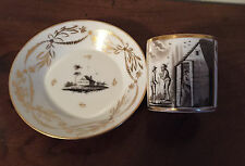 Antique 19th c. Empire Old Paris Porcelain Tea Cup & Saucer French Coffee Can