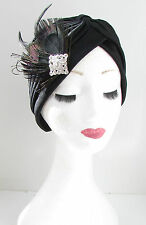 Black & Silver Diamante Feather Turban Headpiece 1920s Vintage Turban Deco Y58