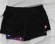 FILA SPORT Womens Black With Print Double Layers Side Mesh Shorts Size S