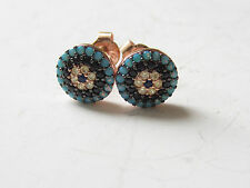 NEW ROSE 925K STERLING SILVER EVIL EYE TURQUOISE TOPAZ STUD EARRINGS