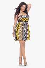 New Retro Boho Pinup Torrid Yellow & Brown Tribal Print Strapless Dress 22W