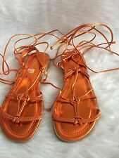 Max Collection  Burnt Orange GLADIATOR ROMAN LACE-UP FLAT SANDALS BLACK SIZE 11