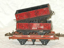 3 VINTAGE HORNBY O JAUGE BOITE WAGONS A JUSTE BESOIN CERTAINS ROUES