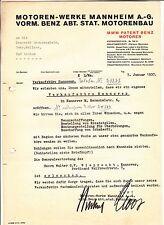 Dokument Motoren Werke Mannheim AG Benz Stat. Motorenbau 1937 ! (D2