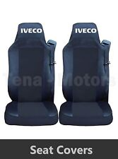 2 x IVECO STRALIS Seat Covers Tailored HGV Truck Lorry Black / Black RHD
