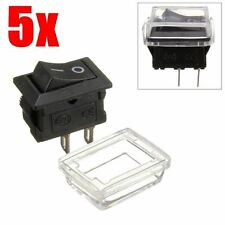 5Pcs 2pin On/Off Rectangle Waterproof Rocker Switch+Cover Car Dashboard Boat 12V