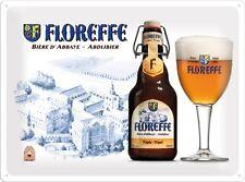 PLAQUE EN METAL EMAILLEE NEUVE 30 X 40 cm : BIERE FLOREFFE BIERE D'ABBAYE