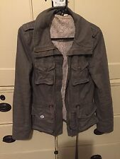 H & M Ladies Womens Girls Military Parka Jacket Coat Khaki/Grey Size 34 Uk 8