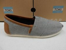 TOMS MENS SHOES CLASSIC FROST GREY CHAMBRAY SYNTHETIC LEATHER TRIM SIZE 10