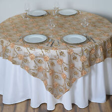"Gold FLOWERS LACE 72x72"" TABLE OVERLAY Sparkly Wedding Party Catering Decoration"