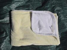 POTTERY BARN KIDS Baby Blanket Crib Stroller Plush Reversible Yellow White SOFT
