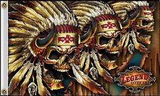 3 Rouge Indien Crânes 12.7cmx7.6cm Drapeau De Pirate