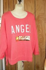 VICTORIA'S SECRET CORAL CREW NECK  SWEATSHIRT LG NWT