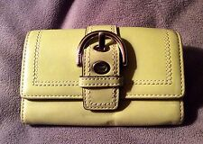 COACH rare Chartreuse GREEN buckle clutch leather WALLET vintage