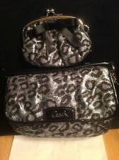 COACH Ocelot Ashley Silver Black Metallic Leopard Jacquard Bag + Bow Coin Set