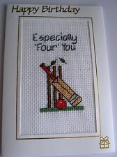 """Birthday Card Completed Cross Stitch Especially Four You Crircket 6x4"""""""