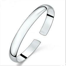 DI US Beautiful Thick silvering silver smooth cuff bangle bracelet
