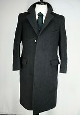 Vintage J. Press Charcoal Gray Herringbone Tweed Chesterfield Long Coat 38R USA