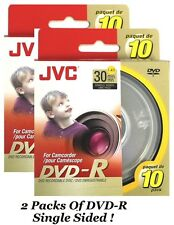 20 PCS JVC DVD-R 30 MIN 1.4 GB SINGLE SIDED DVD RECORDABLE DISK FOR CAMCORDER