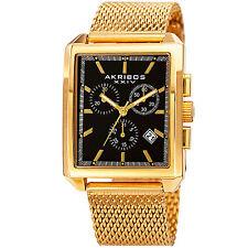 Men's Akribos XXIV AK918YGB Chronograph Small Seconds Yellow Steel Mesh Watch