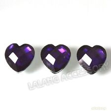 300pcs Dark Purple Heart Stick-on Resin Faceted Embellishments Flatback 10mm L
