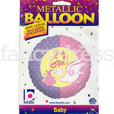 """18"""" It's a Girl Pink Purple Stork New Baby Girl Helium Foil Balloon NEW"""