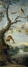 """Oil painting Frans Snyders - Aves acuaticas y arminos birds animals by river 48"""""""