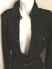 VTG Jean Paul Gaultier Femme Sexy black Military shirt waist dress size 8