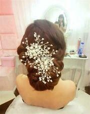 Bridal Rhinestone Flower Faux Pearl Hair Clip Comb Pin Headpiece Jewelry