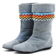 Native Womens Moccasins Boots 10 M Western Blue Leather Low Heel Mid Calf