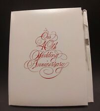 C.R. Gibson Our 40th Anniversary Guest Book with Pen White with Red Text