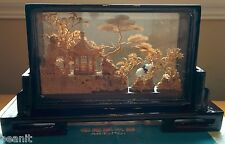 Asian Chinese Cork Carving - Beautiful Countryside with Pagoda & Cranes NICE..