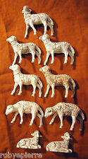7 pecore sheeps 2 agnelli lambs del presepe crib vintage made in italy anticate