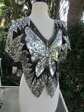 70s 80s SEXY Black Silver Sequin Beaded Top Silk Butterfly Disco Halloween XS S