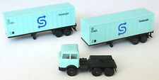 2 x Lima blue container lorry trailer, plus tractor unit, Seatrain livery