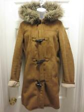 LANDS' END Faux SHEARLING Sherpa SuedeTAN Fur Hood COAT Jacket M Medium 10 12