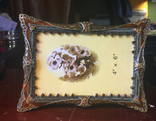 4x6 PEWTER, CRYSTAL, ENAMEL PICTURE FRAME,Brown Enameling,  Amber Crystals